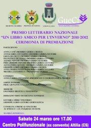 """Premio Letterario Nazionale """"Un libro amico per l'inverno"""", ad Altilia la cerimonia di premiazione."""