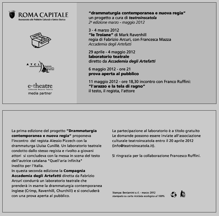 Drammaturgia contemporanea e nuova regia, un progetto a cura di Teatroinscatola