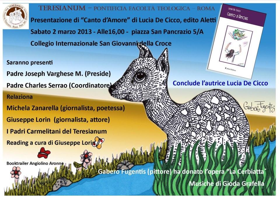 """Presentazione del libro """"Canto d'Amore"""" di Lucia De Cicco al Teresianum"""