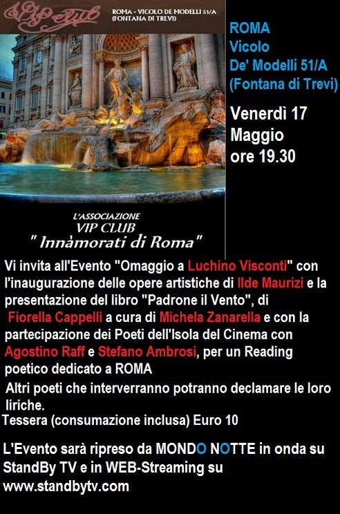 """Al Vip Club """"Innamorati di Roma"""" omaggio a Luchino Visconti"""