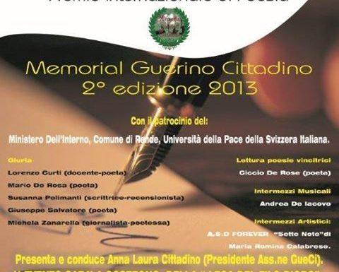 """A Rende la cerimonia di premiazione della seconda edizione del Premio Internazionale di Poesia """"Memorial Guerino Cittadino"""""""