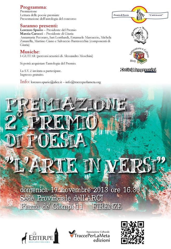 """2° Premio di Poesia """"L'Arte in Versi"""", la premiazione a Firenze"""