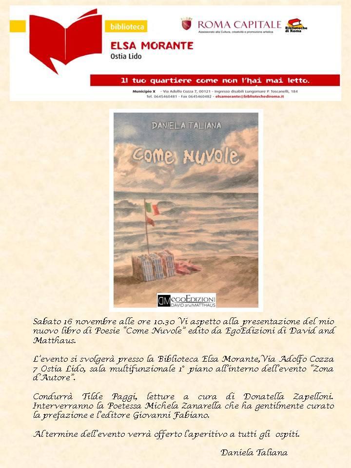 """Presentazione di """"Come nuvole"""" di Daniela Taliana alla Biblioteca Elsa Morante di Ostia"""