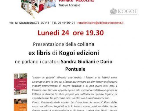 Alla Biblioteca Renato Nicolini Nuovo Corviale la presentazione della collana ex libris di Kogoi edizioni