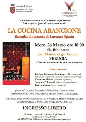 La cucina arancione di Lorenzo Spurio alla Biblioteca S.Matteo degli Armeni di Perugia