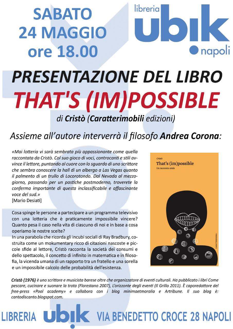 """Presentazione del libro """"That's (Im)possibile"""" di Cristò"""