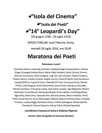 14° Leopardi's Day all'Isola del Cinema