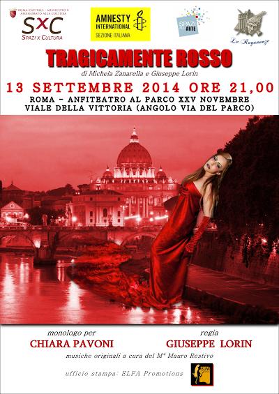 """All'anfiteatro del Parco XXV Novembre di Ostia """"Tragicamente rosso"""""""