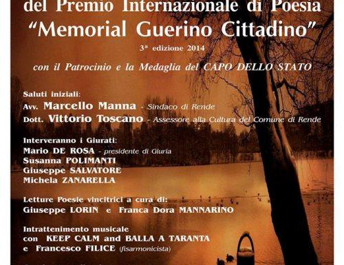 """Serata conclusiva del Premio Internazionale di poesia """" Memorial Guerino Cittadino"""" nato nel rispetto della dignità umana."""