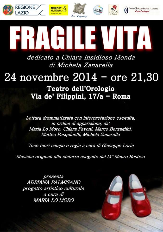 """Fragile vita"" dedicato a Chiara Insidioso Monda al Teatro dell'Orologio"