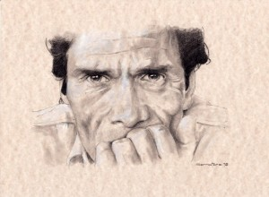 disegno di Gianluca Serratore tratto dalla foto icona di Dino Pedriali