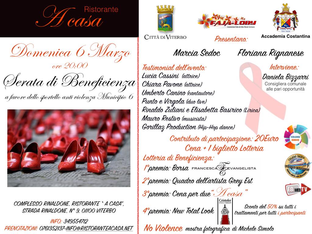 A Viterbo una serata di beneficenza in favore dello sportello antiviolenza del Municipio Roma VI