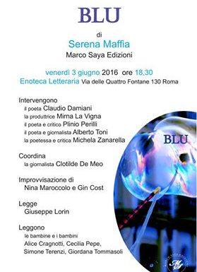 Blu di Serena Maffia, la presentazione all'Enoteca Letteraria
