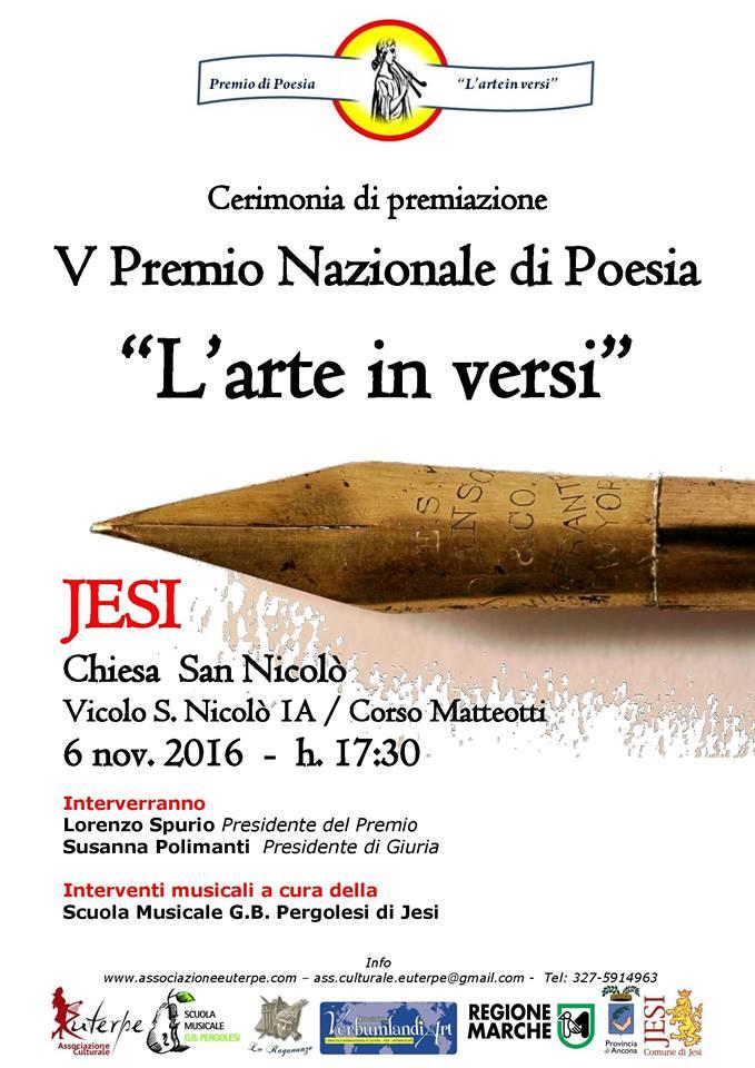 """Jesi si veste di poesia.  Da tutta Italia per la premiazione del V Premio """"L'arte in versi"""""""