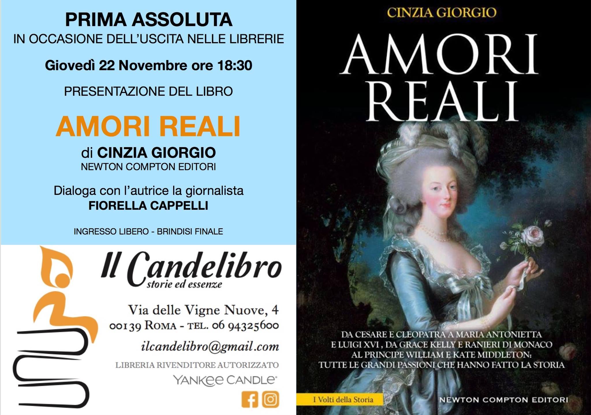 Amori reali: il nuovo libro di Cinzia Giorgio in prima assoluta al Candelibro
